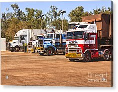 Road Trains Taking On Gas Or Diesel Acrylic Print by Colin and Linda McKie