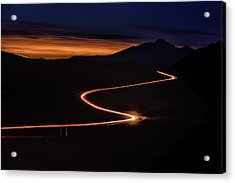 Road With Headlights And Taillights Acrylic Print