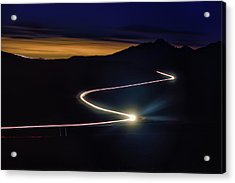 Road With Headlights In Rocky Mountain Acrylic Print