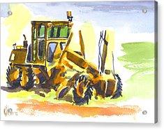 Roadmaster Tractor In Watercolor Acrylic Print