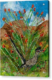 Roadrunner And Ocotillo Acrylic Print