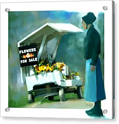 Acrylic Print featuring the painting Roadside Flower Stand Alternate Version by Bob Salo