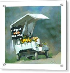 Acrylic Print featuring the painting Roadside Flower Stand by Bob Salo