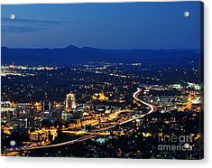 Roanoke City As Seen From Mill Mountain Star At Dusk In Virginia Acrylic Print