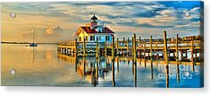 Roanoke Marsh Lighthouse Dawn Acrylic Print