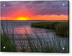 Roanoke Sound Sunset Acrylic Print by Gregg Southard