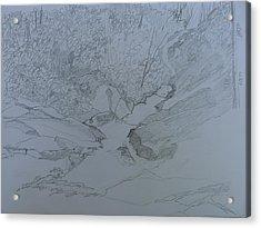 Roaring Fork Falls - Sketch Acrylic Print by Joel Deutsch