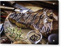 Roasted Bbq T-bone Steak Acrylic Print by GMVozd