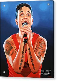 Robbie Williams Painting Acrylic Print by Paul Meijering