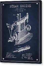 Robbins Steam Engine Patent Drawing From 1885 - Navy Blue Acrylic Print
