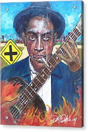 Robert Johnson At The Crossroads Acrylic Print by Aaron Harvey