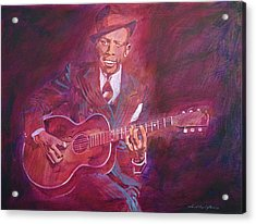Robert Johnson Acrylic Print by David Lloyd Glover