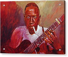 Robert Johnson Photo Booth Portrait Acrylic Print by David Lloyd Glover