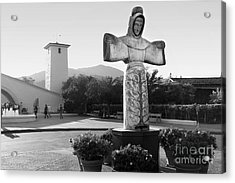 Robert Mondavi Napa Valley Winery . Black And White . 7d9046 Acrylic Print by Wingsdomain Art and Photography