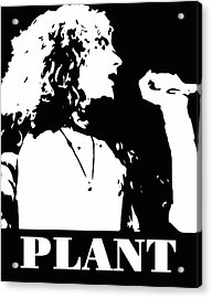 Robert Plant Black And White Pop Art Acrylic Print by David G Paul