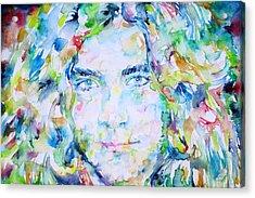 Robert Plant - Watercolor Portrait Acrylic Print by Fabrizio Cassetta