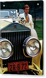 Robert Redford By A Rolls-royce Acrylic Print by Duane Michals