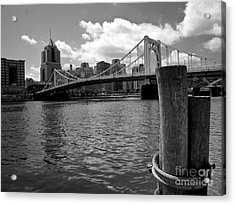Roberto Clemente Bridge Pittsburgh Acrylic Print by Amy Cicconi