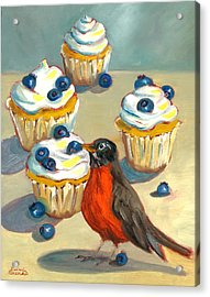 Robin With Blueberry Cupcakes Acrylic Print