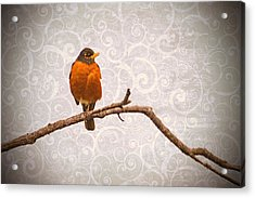 Acrylic Print featuring the photograph Robin With Damask Background by Peggy Collins