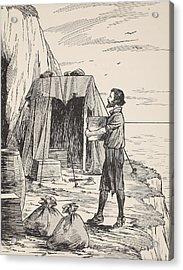 Robinson Crusoe Building His Shelter Acrylic Print by English School