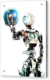Robot Lamenting Earth Acrylic Print by Animate4.com/science Photo Libary