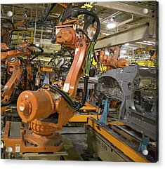 Robot On Car Assembly Production Line Acrylic Print by Jim West
