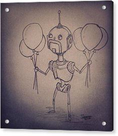 #robot #robots #moustache #handlebars Acrylic Print
