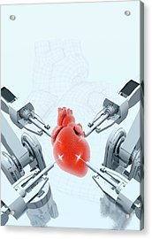 Robotic Arms Making A Heart Acrylic Print by Victor Habbick Visions