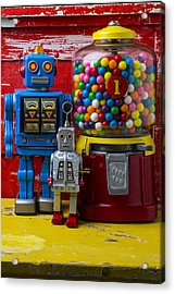 Robots And Bubblegum Machine Acrylic Print by Garry Gay