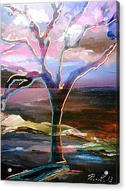 Acrylic Print featuring the painting Robust Tree by Ray Khalife