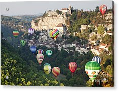 Rocamadour Midi-pyrenees France Hot Air Balloons Acrylic Print by Colin and Linda McKie