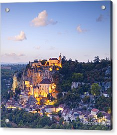 Rocamadour Midi-pyrenees France Twilight Acrylic Print by Colin and Linda McKie