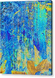 Rock Art Blue And Gold Acrylic Print