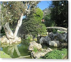 Stone Bridge Pond Acrylic Print by Vivien Rhyan