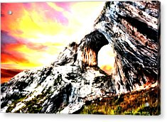 Acrylic Print featuring the painting Rock Cliff Sunset by Bruce Nutting