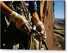 Rock Climber Becky Halls Wrapped Hands Acrylic Print by Bill Hatcher