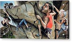 Rock Climbers Acrylic Print by Denny Bond