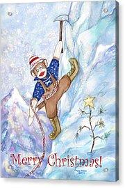 Rock Climbing Sock Monkey Acrylic Print by Peggy Wilson