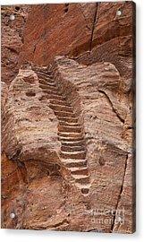 Rock Cut Stairway Of The Street Of Facades Petra Jordan Acrylic Print by Robert Preston