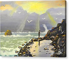 Acrylic Print featuring the painting Rock Fishing At Wombarra  by Pamela  Meredith