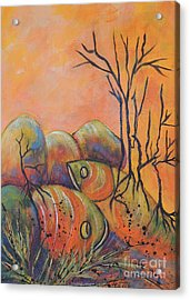 Acrylic Print featuring the painting Rock Fishing by Lyn Olsen