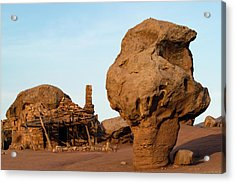 Rock Formations And Abandoned Building Acrylic Print