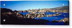 Rock Formations At Lake, Granite Dells Acrylic Print by Panoramic Images