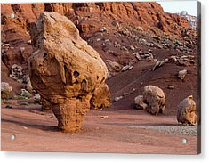 Rock Formations In A Desert, Vermilion Acrylic Print