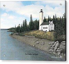 Rock Harbor Lighthouse Titled Acrylic Print by Darren Kopecky
