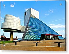 Rock N Roll Hall Of Fame Acrylic Print by Frozen in Time Fine Art Photography