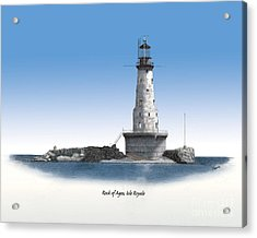 Rock Of Ages Lighthouse Titled Acrylic Print by Darren Kopecky