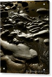 Rock Sand Water Light Acrylic Print by Ron Schwager