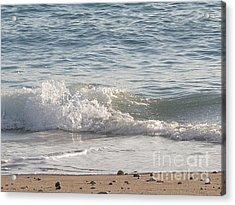 Rock-strewn Beach Acrylic Print by Deborah Smolinske